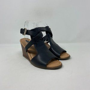 Dr. Scholl's Faux Leather Comfort Wedge Sandals